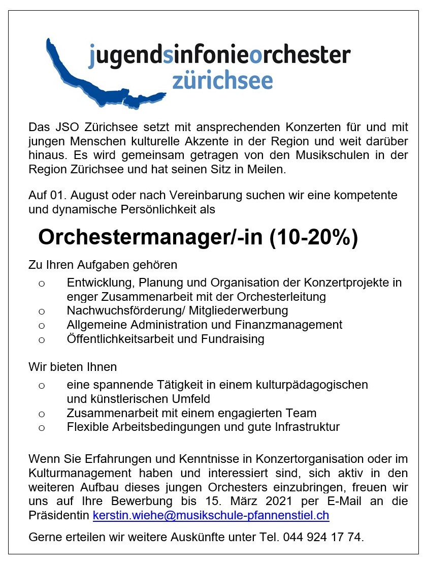 Orchestermanagment JSO Zürichsee